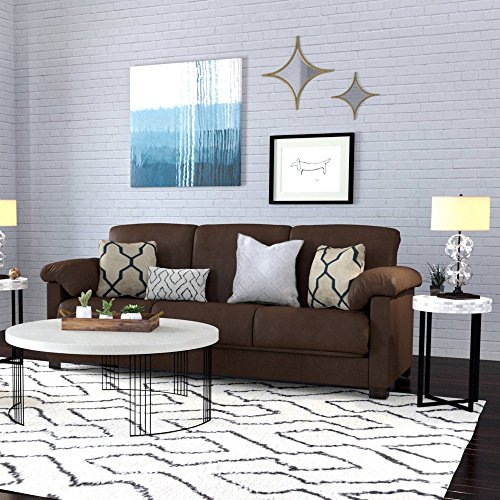 Full Size Bed-Convertible Steel Frame Stain Resistant Microfiber Convert-a-Couch Sofa Sleeper Bed (Dark Brown)
