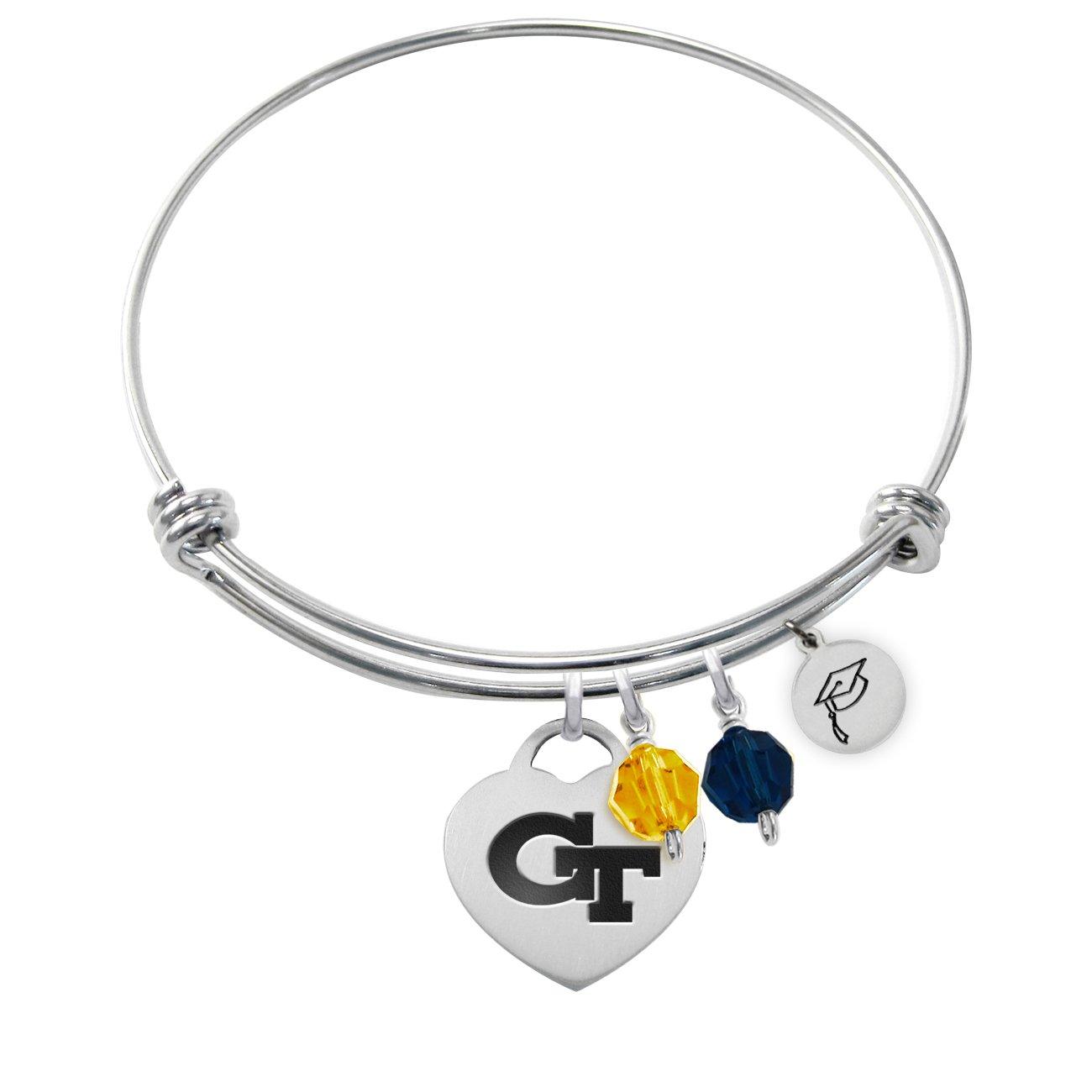 Georgia Tech Yellow Jackets Adjustable GRADUATION Bracelet With Heart Charm