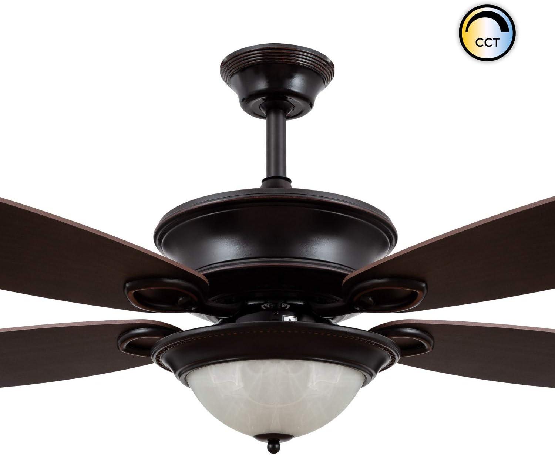 Ventilador de Techo LED Vintage Negro CCT Seleccionable 70W Seleccionable (Cálido-Neutro-Frío)