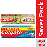 Colgate Swarna Vedshakti - 200 g with Strong Teeth Toothpaste - 300 g with free Toothbrush
