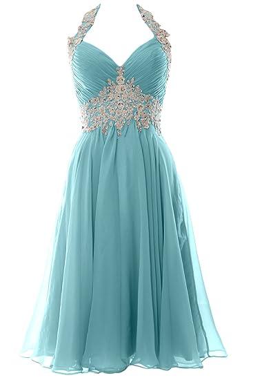 MACloth Women Short V Neck Wedding Formal Gown Halter Prom Homecoming Dress (6, Aqua