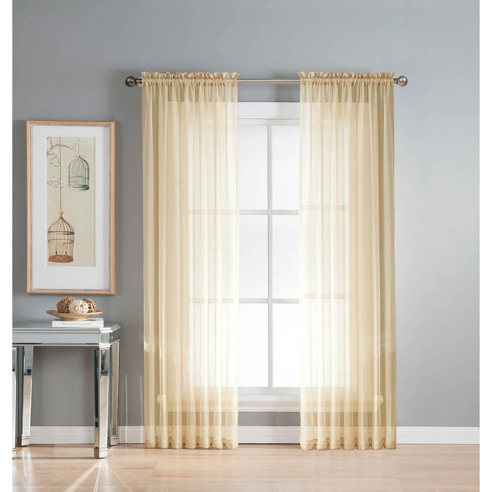 1coppia di tende in voile/rete, con fessura superiore, in tinta unita, bianco crema, Poliestere, Beige, 135cmx91cm / 53x36 Style It Up