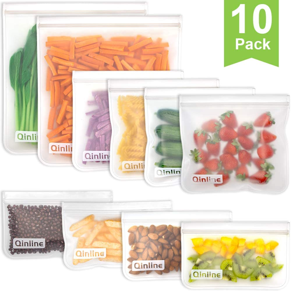 Reusable Storage Bags - 10 Pack Reusable Freezer Bags(2 Reusable Gallon Bags + 4 BPA FREE Reusable Sandwich Bags + 4 Leakproof Reusable Snack Bags) Ziplock Lunch Bags for Food Marinate Meat Fruit