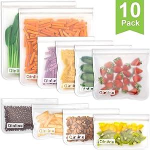 Reusable Storage Bags - 10 Pack Reusable Freezer Bags(2 Reusable Gallon Bags + 4 BPA FREE Reusable Sandwich Bags + 4 Leakproof Reusable Snack Bags) Ziplock Lunch Bags for Food Marinate Meat Fruit