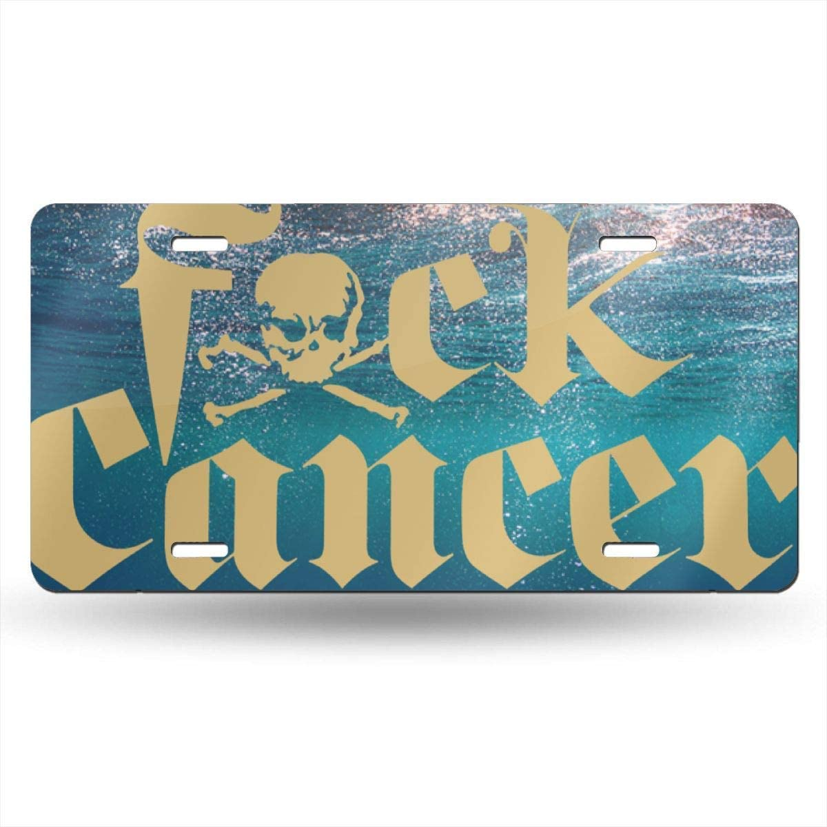 Ganheuze Fuck Cancer License Plate Car Auto Tag Aluminum Personalized Metal Sign for Car Decoration White
