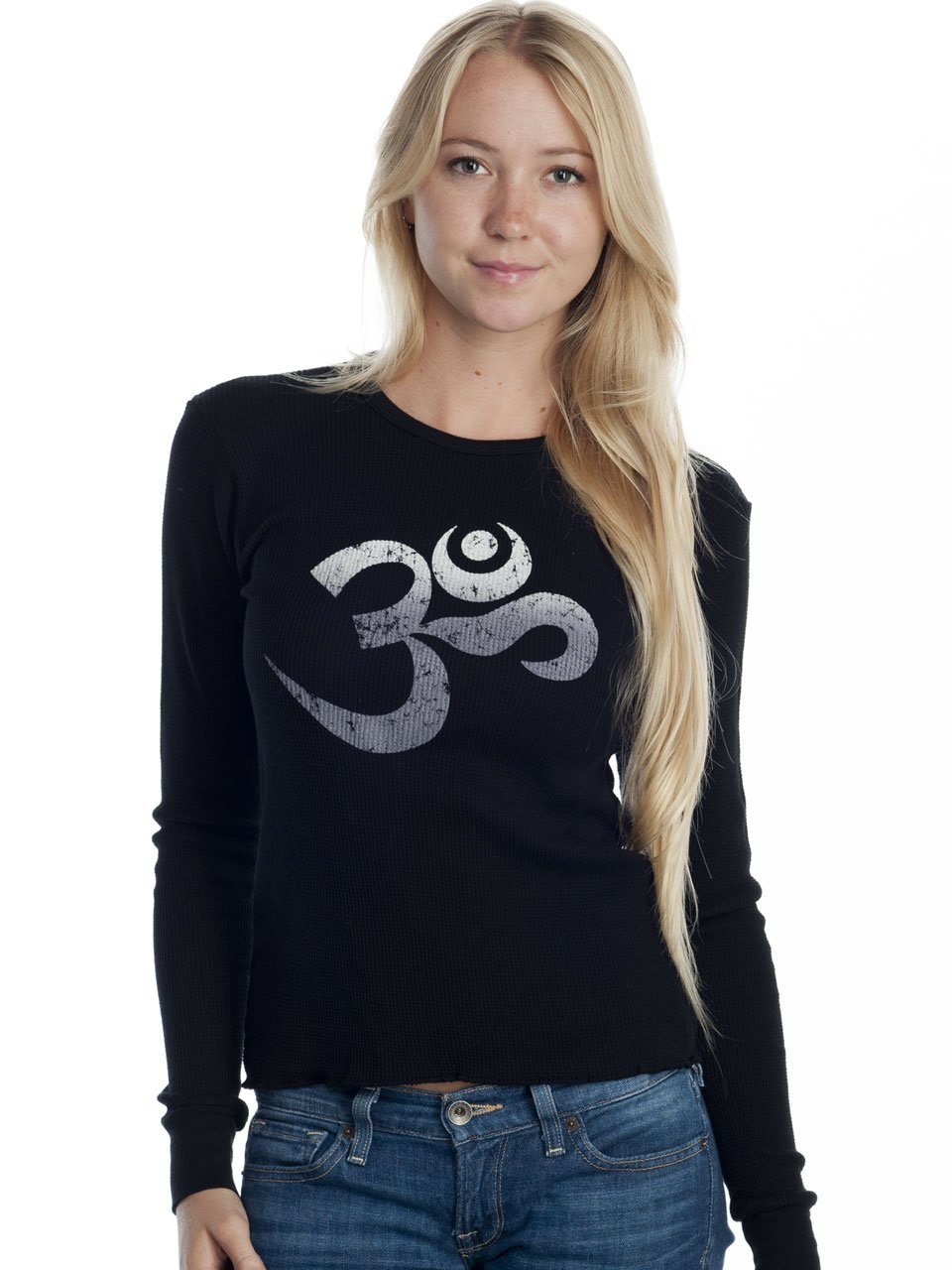 Super Buddha Women's''Om Mantra'' Long Sleeve Thermal, Black, Medium