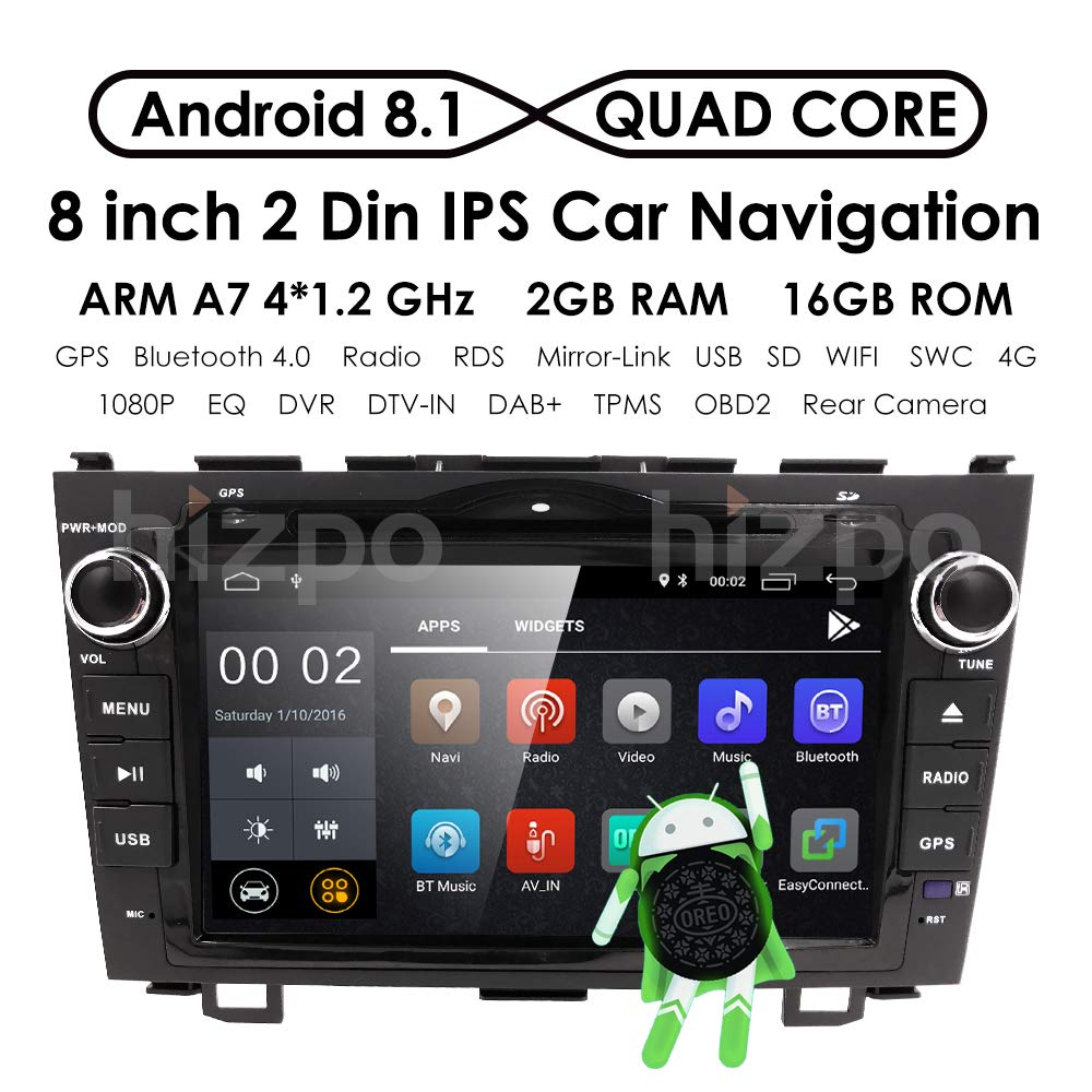 Amazon.com: hizpo Android 8.1 Car Radio for Honda CRV CR-V 2007 2008 2009  2010 2011 8 inch DVD Player WiFi GPS Navigation Stereo Bluetooth + Camera:  Car ...
