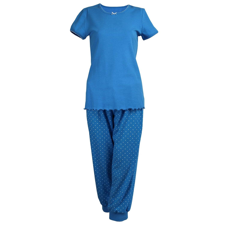 00932faffd Cybele Damen Pyjama Set kurzer Arm Shirt + 3/4 Hose Oberteil und Sweathose  Schlafanzug