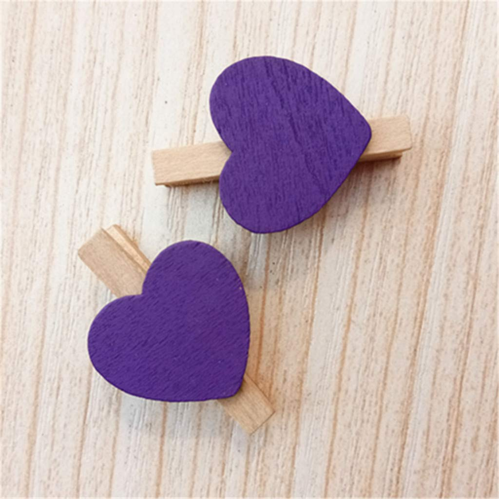 Kanhan 10 PCS Mini Heart Love Wooden Clothes Photo Paper Peg Pin Clothespin Craft Postcard Clips Home Decoration (Purple) by Kanhan-Clip (Image #2)