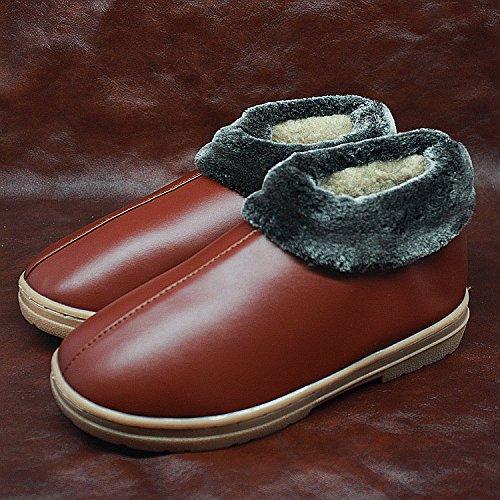 Fankou Autunno Inverno pacchetto con il cotone pantofole home giovane davvero di spessore pavimento caldo pantofole e 30 (45-46), colore marrone chiaro
