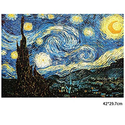 Puzzles for Adults Jigsaw Puzzles 1000 Pieces for Adults Kids– Starry Night by Vincent Van Gogh Jigsaw Puzzle Game Toys Gift: Toys & Games