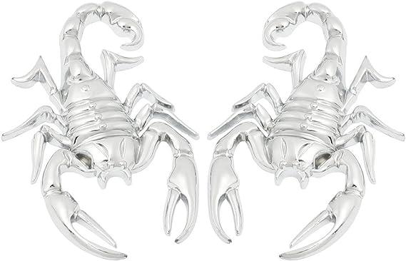 Autoaufkleber Sodial R 2 Stuecke Skorpion Shape 3d Metall Autoaufkleber Silber Auto