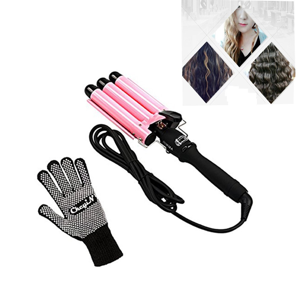 3 Barrel Curling Iron, Ckeyin Fast Heating Professional 25mm Wavy Curling Iron Deep Waver for Long Hair Curling Hairdressing [High Temperature Resistant] New Hair Styling Tools with LCD Display + [1x Anti-scald Cotton Yarn Glove]