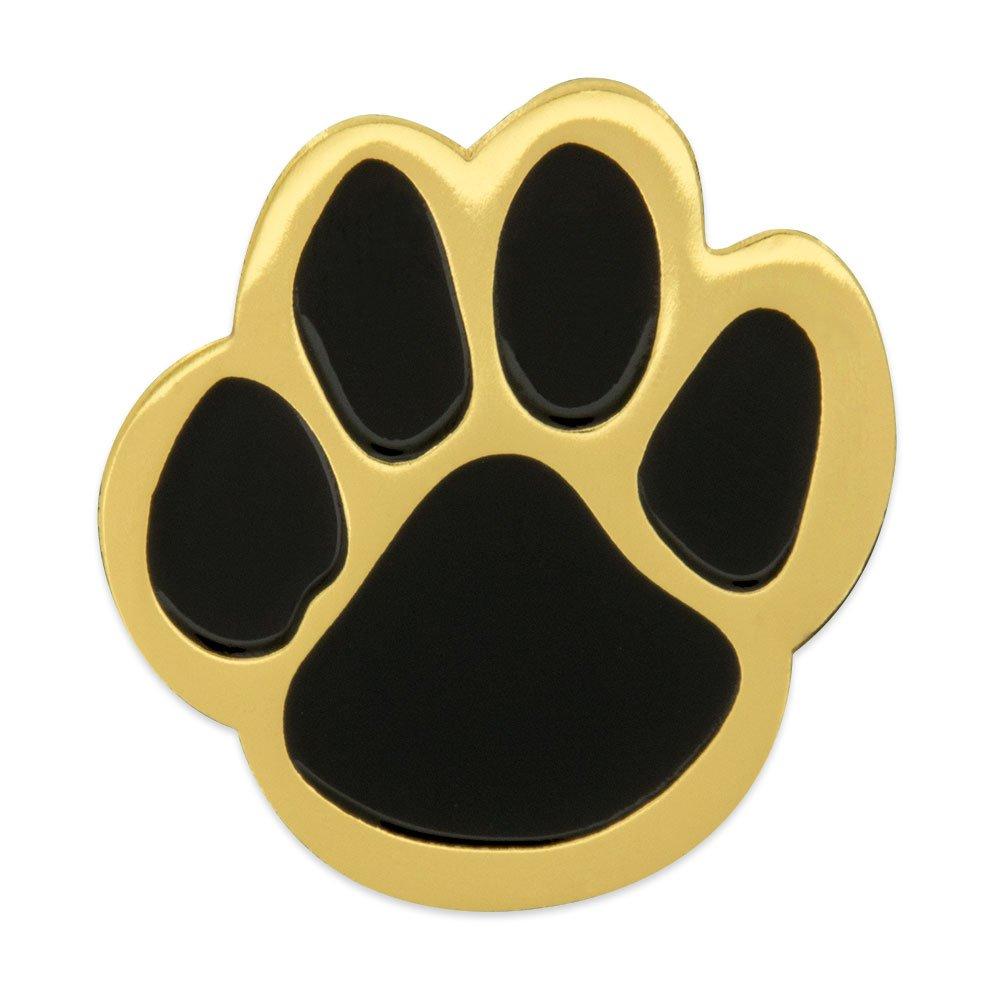 PinMart's Black and Gold Animal Paw Print School Mascot Enamel Lapel Pin
