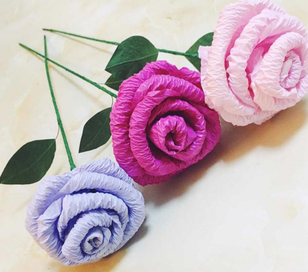 Gespout colored crumpled paper 50*250cm telescopic crepe paper decoration DIY handmade material paper blue paper roses flowers