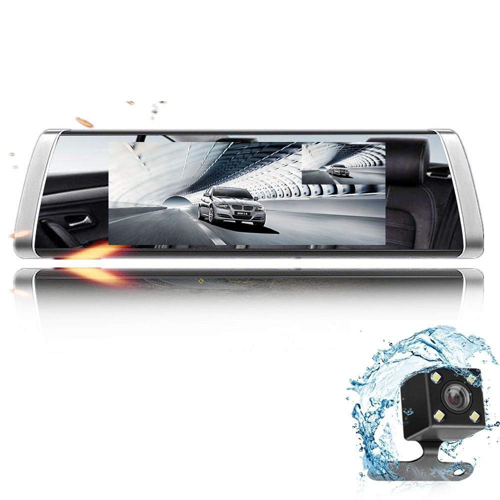 DashCam Spiegel mit AHD Backup-Kamera-Kit, Eyesun Cam StreamingMedia 7Full Touchscreen,AutoKamera 1080P FHD Frontkamera und 720P Rü ckfahrkamera mit Crystal Bildqualitä t,WDR