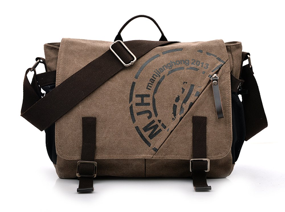 Ecokaki(TM) Vintage Printed Canvas Shoulder Bag Teenager School Students Messenger Bag Laptop Crossbody Bags Satchel Handbags, Coffee