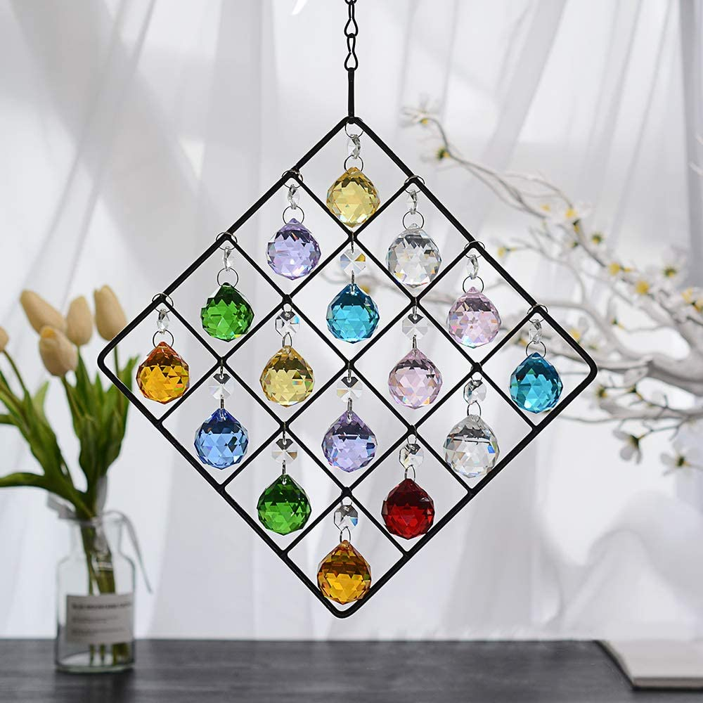 WEISIPU Colorful Crystal Ornaments - Metal Crystal Garden Pendant Rainbow Crystal Ornament Crystal Ball Prism for Window, Garden, Home Decoration (Colorful)