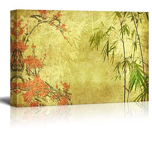 Japanese Garden Plants Over a Gold Textured Background