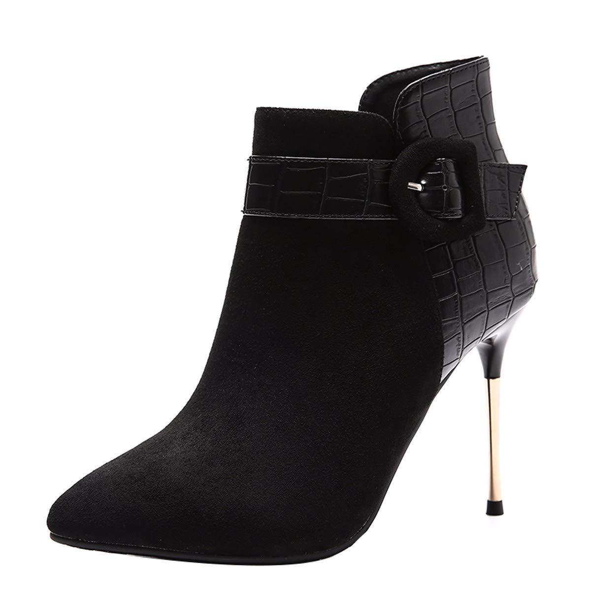 KPHY Damenschuhe/Kurze Stiefel Mit Hohen 10Cm, Winter, Mode, Sexy, Gürtel, Starken Kopf, Dünne Sohle, Dünne Stiefel.