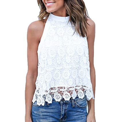 a21e9ab0e6213 Amazon.com  Londony HOT SALE Women s High Neck Sleeveless Lace Embroidered  Crop Top Sexy Tank Tops Blouse (White ❤