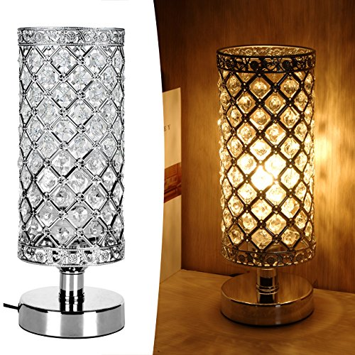 Crystal Table Lamp ,Ledikon Bedside Table Lamp Desk Lamp,Real Crystal Accent Lamp, Decorative Nightstand Lamp for Bedroom,Living Room,Dining Room,Kitchen,Side End Table (Crystal Living Room Table)