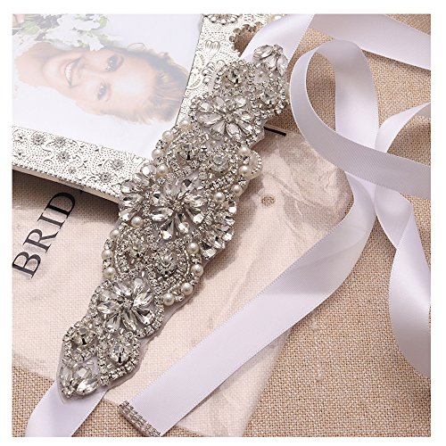White Sash Crystal Applique Bridal Belts In Silver With Pearls Beaded On Wedding Prom Dress-7.7In2In