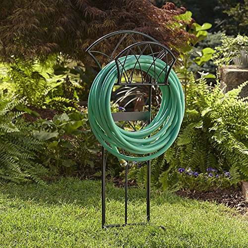 Liberty Garden Products 116 Decorative Garden Hose Satin Finish Stand, Holds 125-Feet of 5/8-Inch Hose - Black