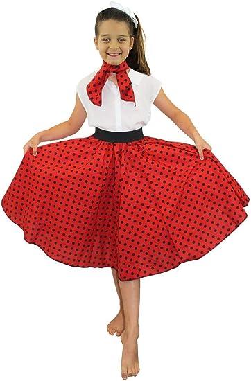 Polka Gonna Donna Bambine Bambini Costume 50s Rock N Roll Grease Costume