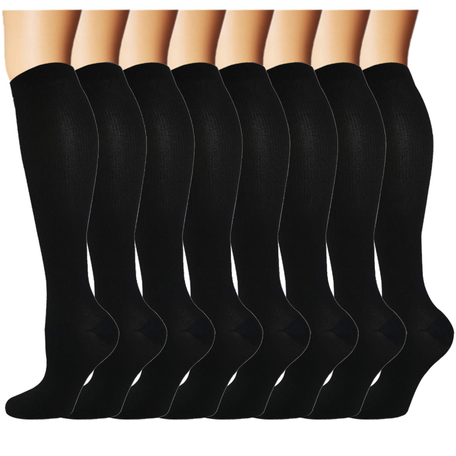 Iseasoo 8 Pack Knee High Compression Socks for Men & Women-Best for Running,Athletic,Medical,Pregnancy and Travel -15-20mmHg (L/XL, 8 Pairs Black) by Iseasoo
