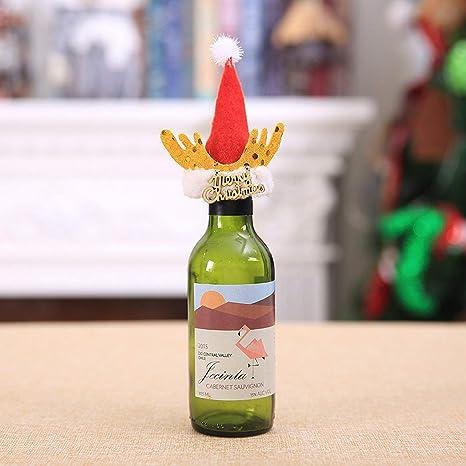 Set de decoración de Botellas de Vino de Navidad Papá Noel Muñeco de Nieve Cubierta de