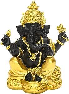 DOITOOL Hindu Ganesha Figurine Gold Black Lord Elephant Figurine Table Buddhist God Ganesh Ganpati Collectible Art Figure Home Office Table Dispay Elephant Statue