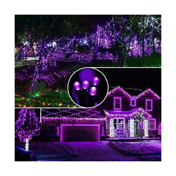 EPESL luci natalizie 22m 220 leds con 8 modalità di memoria end to end estensibile catene luminose esterni ed interni decorazione per giorno di natale alberi casa Halloween festa giardino - Viola 6 spesavip