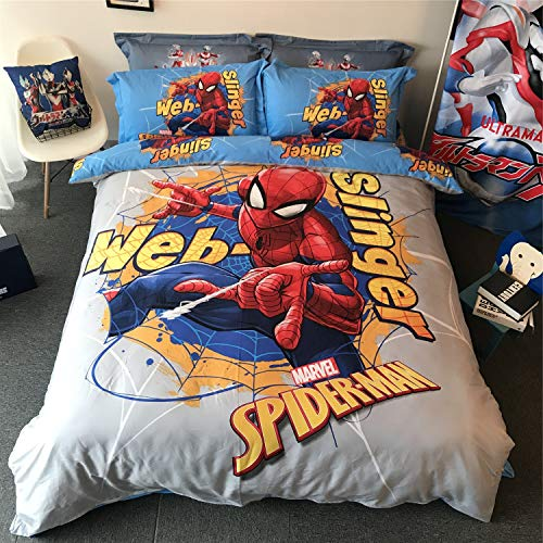 Cenarious Marvel Spider Man Boys Cartoon Style Duvet Cover Set Cotton Flat Sheet Bed Cover - 4Pcs Bedding Set - Queen Flat Sheet Set - 86
