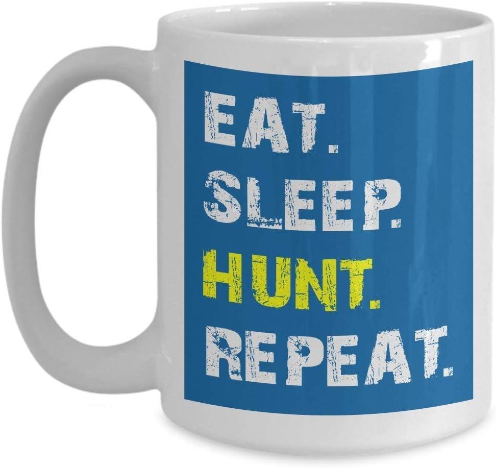 Tazas de café de cerámica blanca de 11 onzas para cazar papá, los hombres comen dormir, caza, repetir la caza de niños, papá de hijo, él, esposo, niños, hombres menores de 20, novio día del padre