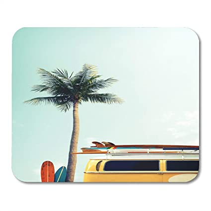 Amazon Com Emvency Mouse Pads Vintage Car Parked Tropical Beach