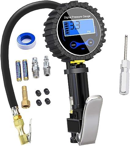 Nynel - Manómetro Digital para neumáticos, 250 PSI, Alta precisión ...