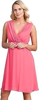 M.M.C. Chiffon Umstands-Kleid im Empire-Stil - Damen Gerafftes Abendkleid Cocktail-Schwangerschaftskleid – Partykleid V-Ausschnitt Knielang Ärmellos