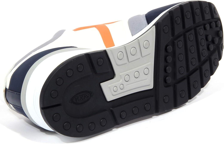 4158J Sneaker Uomo Tissue Tod'S Scarpe Blue/Grey/Orange Shoe Man Blu Grigio Arancione