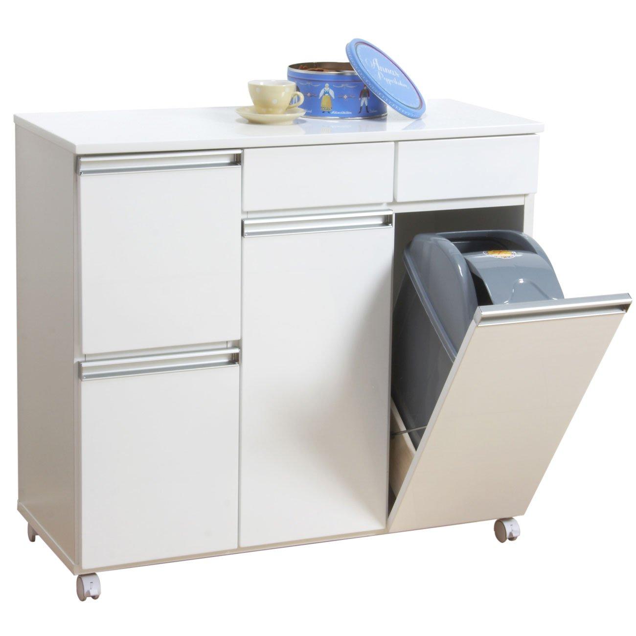 クロシオ ダイニングダストボックス4D ホワイト 幅82cm ゴミ箱 4分別ごみ箱 B002CJWNKW
