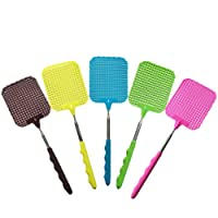 JoyFan 1PC Random Color Plastic Extendable Fly Swatters Durable Telescopic Mosquito Zapper Bug Killer with Plastic Surface Long Handle and Anti Slip Grip (Red Blue Green Black Brown)