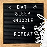 Clearance Sale!!!! Changeable Felt Letter Board - Black Felt Message Board with 362 Letters, Numbers, Symbols & Emojis | Premium Oak Wood Frame - Display Words, Quotes, Announcements - 10'' x 10''