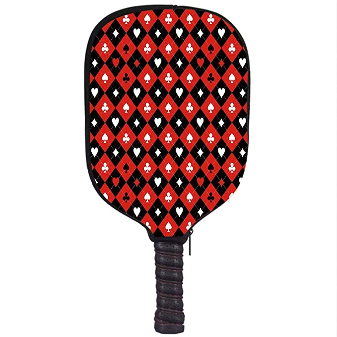 Amazon.com : CANCAKA Neoprene Pickleball Paddle Racket Cover Case, Poker Tournament Decorations, Card Suit Chess Board Classic Checkered Pattern Symbols ...