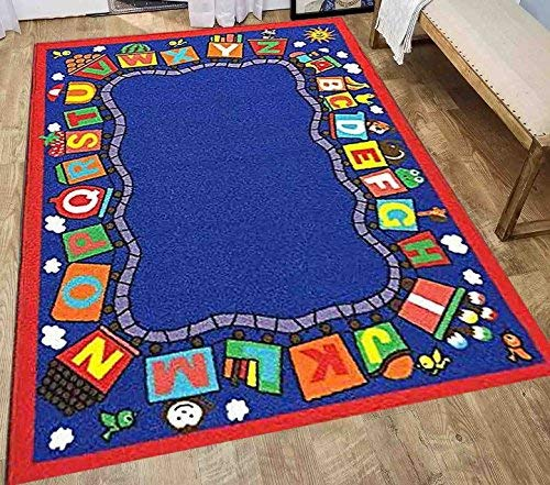 LA Jungle Train Fruity Train Animal Train Sky High Smiley Pattern Teacher Nursery Playtime Fun Time Game 5-Feet-by-7-Feet Polyester Made Kids Unisex Area Rug Carpet Rug Multicolor