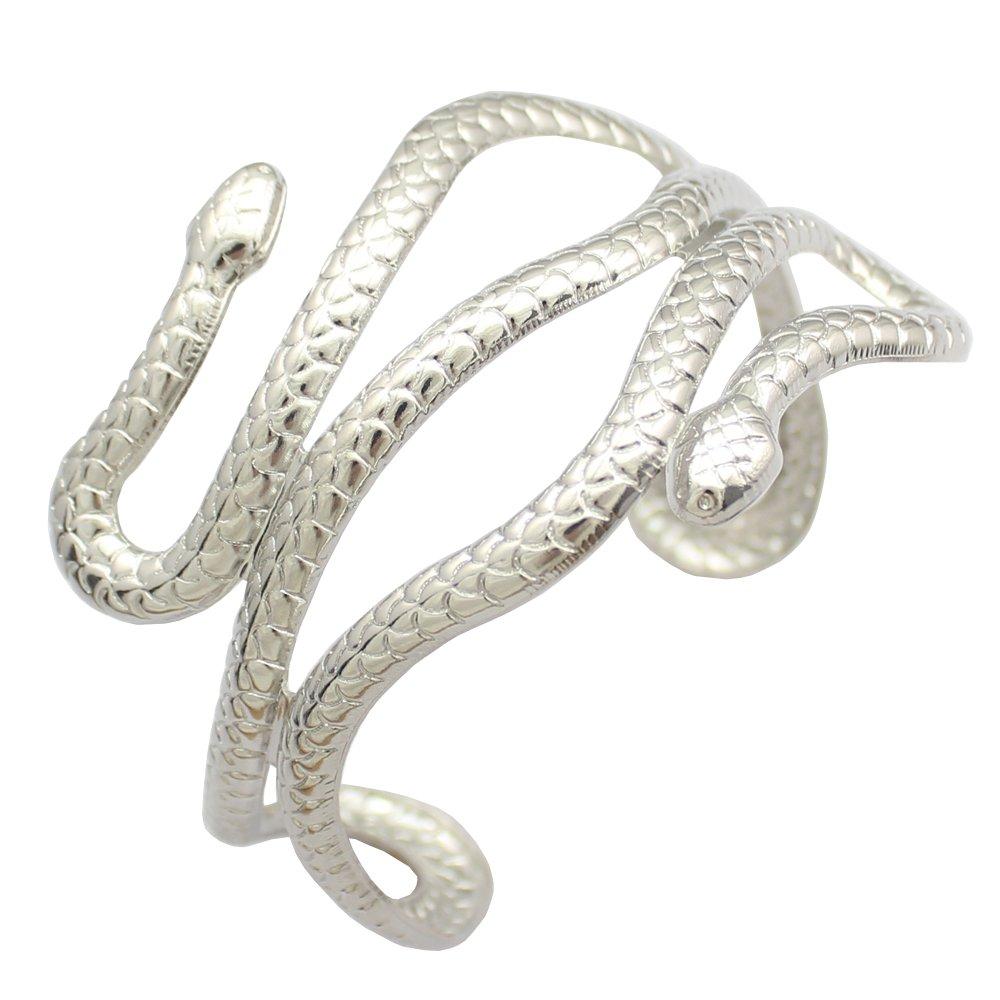 Q&Q Fashion Chic Egypt Cleopatra Swirl Snake Arm Cuff Armlet Armband Open Bangle Bracelet B00YGN86BM_US