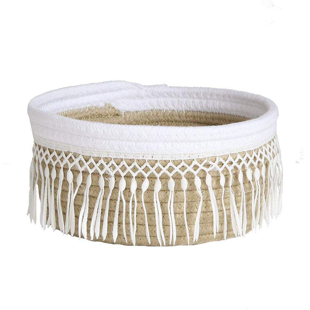 Small Kingpo Cotton Rope Woven Storage Basket Decorative Basket Toy Blanket and Laundry Household Storage Container Cute Tassel
