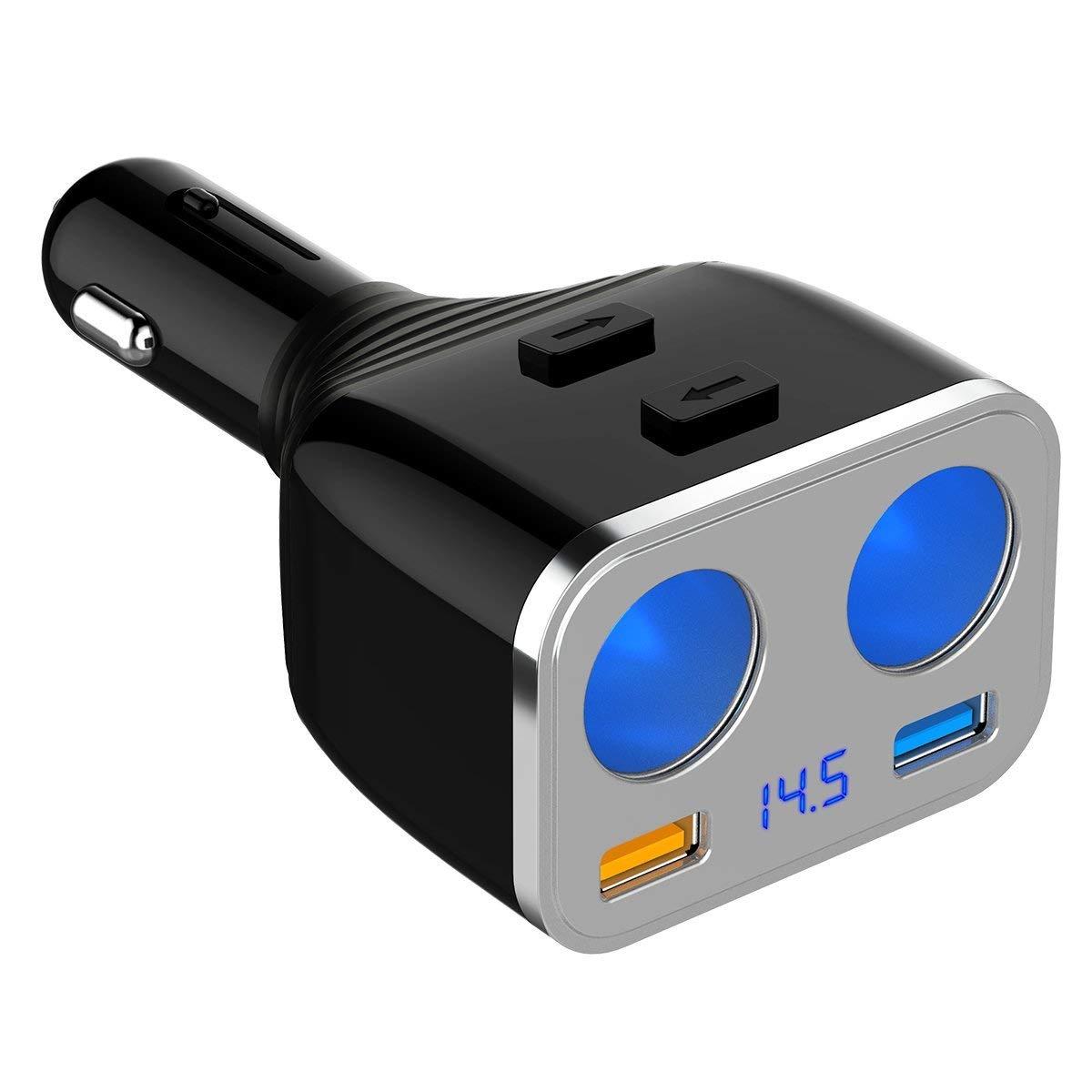 SONRU QC3.0 Chargeur de Voiture, 12V/24V Double Prise Allume-Cigare 80W Double Port USB 5.4A, Interrupteur Marche/Arrê t, pour iPhone, iPad, Samsung, Dashcam Interrupteur Marche/Arrêt CH08