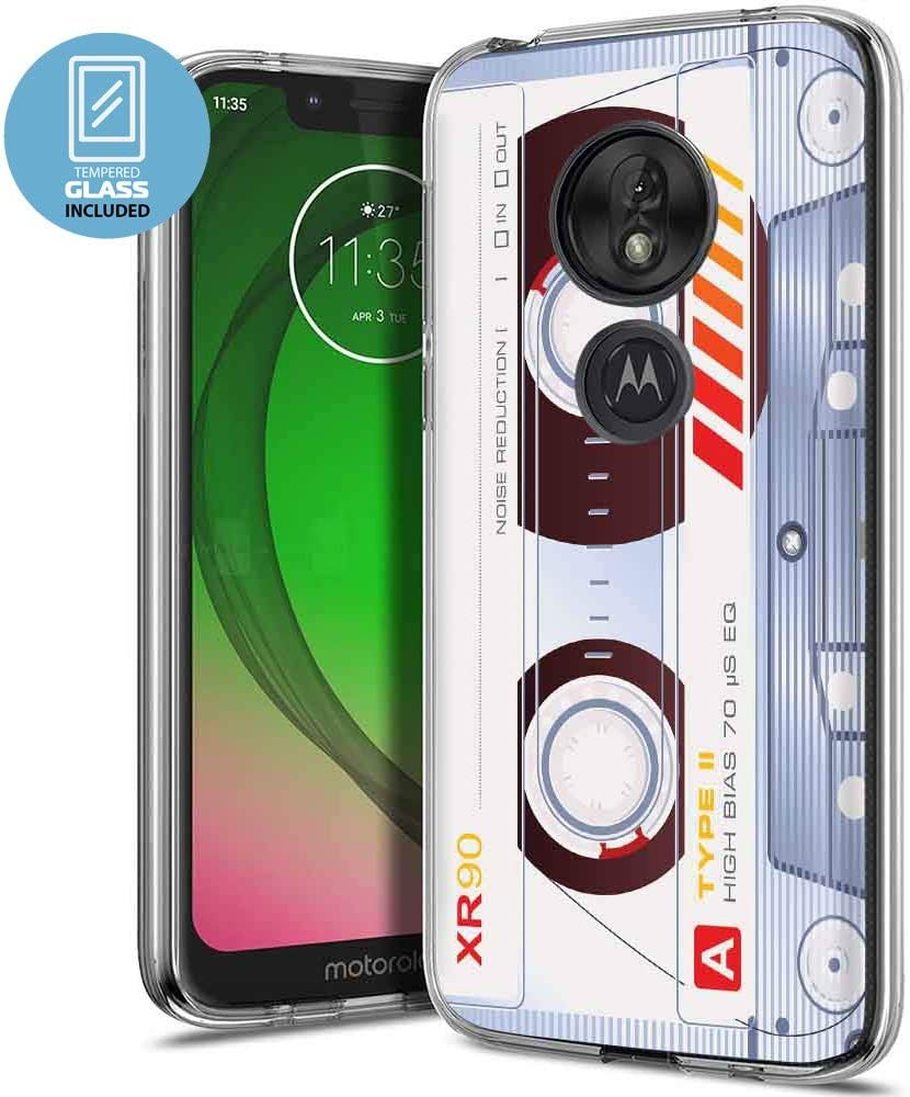 NakedShield Clear Flex Gel Phone Case Compatible for Motorola Moto g7 Play,REVVLRY,G7 Optimo,Ying Yang Tiger Print,Light Weight,Unbreakable,Flexible,Glass Screen Protector Included,Designed in USA