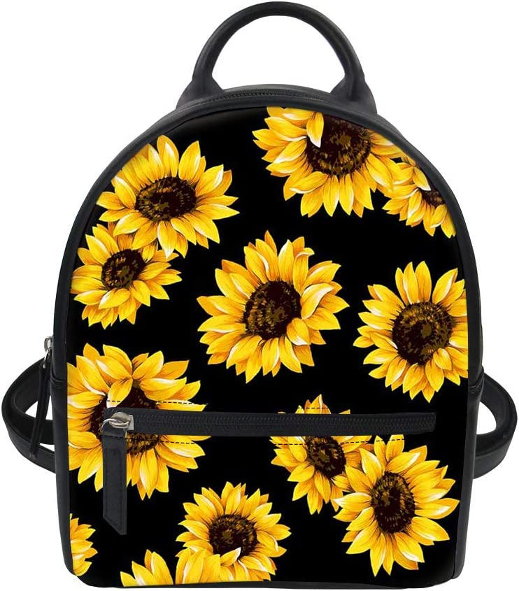doginthehole Sunflowers Black Tropical Flower Daisy Women Leather Backpack Purse Water Resistant Travel Daypack Shoulder Bag