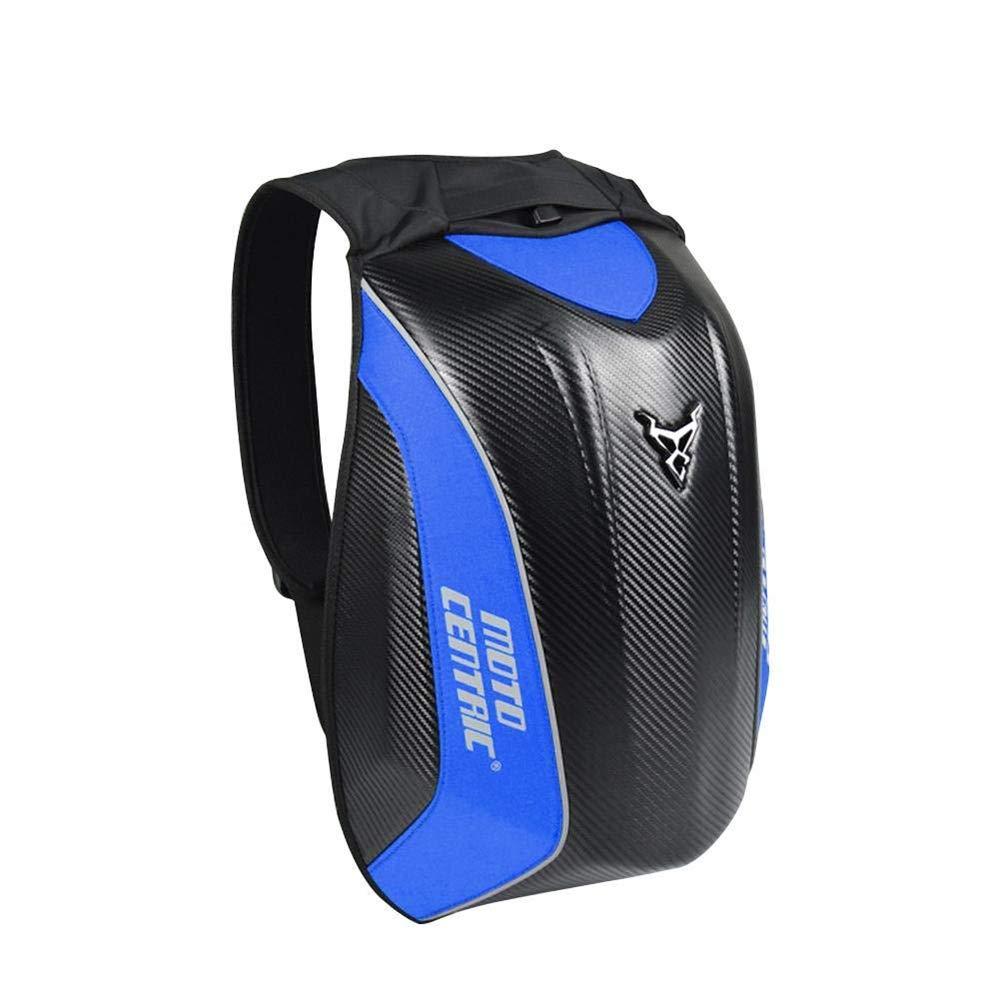 TIANQING Motorcycle Riding Bag, Hard Shell Carbon Fiber Waterproof Turtle Bag Backpack, Knight Men and Women Locomotive Helmet Bag, Size: 373056 cm,Blue